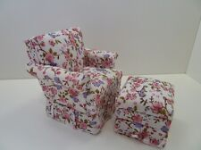 Dolls House Miniature 1.12 Scale Lounge Floral Pink Pattern Chair & Stool