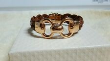 Bronzo Italia Status Link Braided Camel Brown Leather Bracelet Rose Small