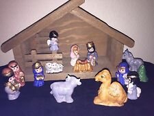 Porcelain Childrens Hand Painted Nativity Set Gold Trim With Creche Christmas