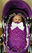 Dolls Pram Set made to fit Silver Cross ranger prams  - damson