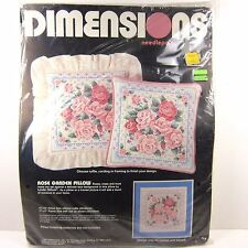 Vintage Needlepoint Kit Dimensions Pink Roses Rose Garden 80s Cottage Style