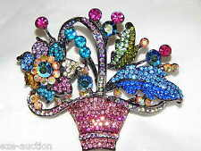 ELEGANT RHINESTONE CRYSTAL FLOWER BASKET BROOCH PIN