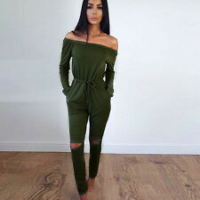 Womens Off Shoulder Jumpsuit Ladies Romper Evening NightOut Party Playsuits 6-14