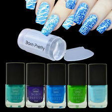 6pcs/set Blue Series Nail Art Stamp Polish Manicure & Clear Stamper Scraper DIY