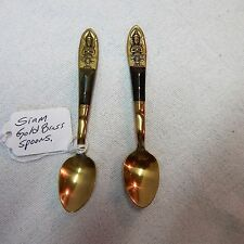 Two Pc. Siam Buddha Spoons Solid Brass with Teak Handles