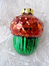 Blown Glass Christmas Ornament - BROWN AND GREEN ACORN