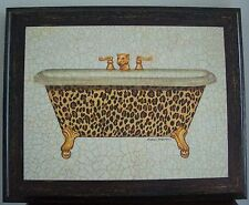 SNOW LEOPARD TUB PRINT by MARCO FABIANO 10x8.5 in. RARE HTF