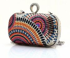 Orange Crystal Ring Sequin Evening Bag Clutch–Bling feature–chain shoulder strap