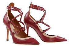 NEW VALENTINO GARAVANI LOVE LATCH ANKLE STRAP LEATHER HEELS PUMPS SHOES 38/US 8