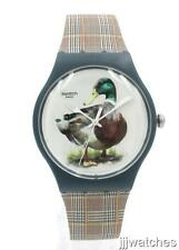 New Swatch Originals DUCK-ISSIME Plaid Print Silicone Watch 41mm SUON118 $75