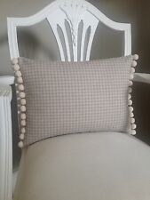 French Grey Linen Look Vintage Gingham Fabric Cushion Cover & Pom Pom Trim