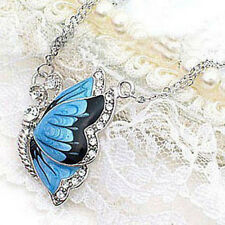Silver Vintage Women Blue Butterfly Crystal Rhinestone Necklace Pendant Gift BFF