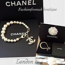 CHANEL NEW 16P EMBELLISHED CRYSTAL CC PEARL BRACELET