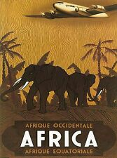 Equatorial Africa Kenya by Airplane Vintage Travel Art Poster Advertisement