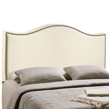 LexMod Curl King Nailhead Upholstered Headboard Category Bedroom Color Ivory NEW