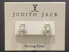 New Judith Jack Sterling Silver Stimulated Pearl & Crystal Stud Earrings, w/tag