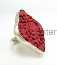 SAJEN INTRICATELY CARVED DIAMOND SHAPE CINNABAR RING 925 Sterling Silver Size 6