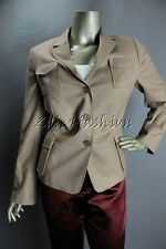 $1190 New with tags AKRIS Punto Camel Beige Cargo Pocket Wool Jacket 42 12