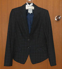 ESPRIT~ Black TARTAN CHECK Fitted & Lined CLASSIC Blazer BUSINESS JACKET~Size 10