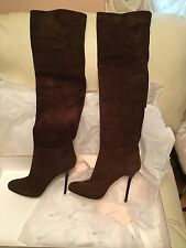 Jimmy Choo Over the Knee Stretch Suede Brown Boots 247 April 38 8
