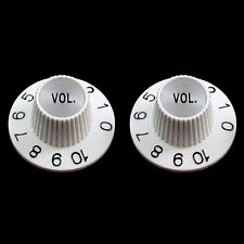 NEW (2) Witch Hat VOLUME Knobs For USA Split Shaft Pots Gibson Epiphone - WHITE