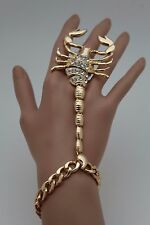 Women Gold Metal Hand Chain Fashion Bracelet Scorpion Rings Slave Jewelry Desert
