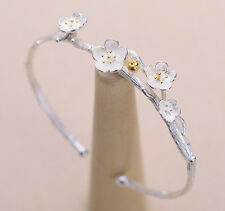 925 Sterling Silver - Korea Delicate Branches Cherry Blossoms Cuff Lady Bracelet
