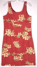 Tommy Bahama Silk Coral Orange Green Pink Lined Sheath Sleeveless Dress 12 Med A