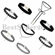 8PCS Gothic Punk Girls Womens Velvet Tattoo Lace Choker Collar Pendant Necklace
