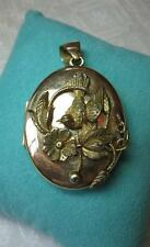 Art Nouveau Locket Necklace Bird Flower Large 2 Picture GF c1900 Belle Epoque