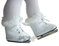 White Fur Trim Figure Ice Skates for American Girl Doll Clothes Accessories