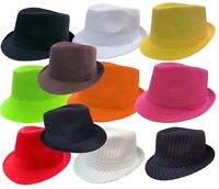 FEDORA TRILBY GANGSTER FEDORA BUCKET HAT MEN WOMEN SOLID CAP