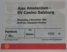 Ticket for collectors CL Ajax Amsterdam Casino Salzburg Holland Austria 1994