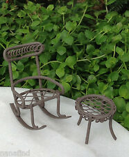 Miniature Dollhouse FAIRY GARDEN ~ TINY Micro Mini Rustic Rocking Chair & Table