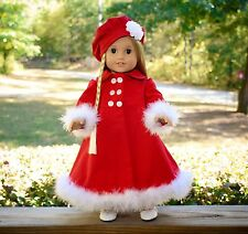 """Handmade American Girl Doll Clothes, Red Winter Coat, Fits Julie, Lea, 18"""" Dolls"""
