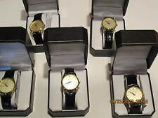 LOT OF 5 NEW MENS GOLD/LEATHER DRESS WATCH-GREAT GIFTS-WEDDING PARTY-RETAIL $35