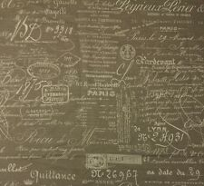 "BALLARD DESIGNS DOCUMENT NATURAL FRENCH SCRIPT FABRIC REMNANT 42""LONG X 48"" W"