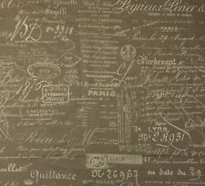 "BALLARD DESIGNS DOCUMENT NATURAL FRENCH SCRIPT DESIGNER FABRIC 1 YARD 55"" W"