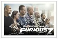 FAST AND FURIOUS 7 CAST   SIGNED PHOTO PRINT AUTOGRAPH POSTER PAUL WALKER