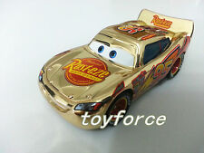 Mattel Disney Pixar Cars Metallic Finish Gold Chrome McQueen Metal Toy Car 1:55