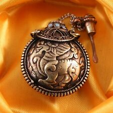 Thick Tibet Filigree Turquoise Red Coral Kylin QiLin Spoon Snuff Bottle Pendant