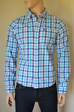 NEW Abercrombie & Fitch Noonmark Shirt Blue & Turquoise Check XXL