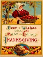 """+""""Thanksgiving Wishes-""""Best Wishes For Most Happy Thanksgiving""""~Post Card~(#135)"""