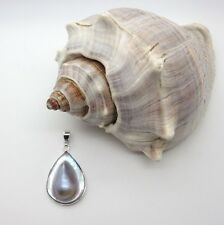 Handcrafted in Argento Sterling Ciondolo MABE BLISTER Pearl Teardrop STAMP 925 Fibbia