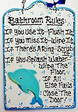White DOLPHIN Bathroom Rules SIGN Tropical Beach Bath Island Wall Decor Plaque