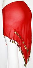 Red Sheer BellyDance BELLY Dancing Burlesque COIN HIP SCARF BELT WRAP Sarong