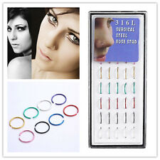 Hot Wholesale 40pcs/Box Multi Stainless Steel Nose Studs Ring Hoop Body Piercing