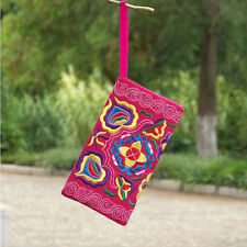 New Women Ethnic Handmade Embroidered Wristlet Clutch Bag Vintage Purse Wallet
