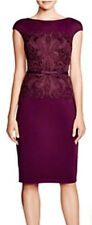 NWOT blackberry Tadashi Shoji Cap-Sleeve Lace Bodice Belt Cocktail Dress size 10