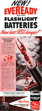 Girl Shot Out Of Cannon HUMAN CANNON BALL Eveready Batteries CIRCUS '47 Print Ad